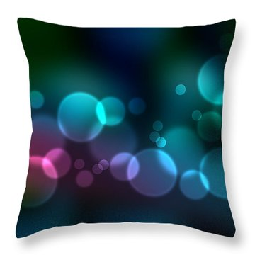 Colorful Defocused Lights Throw Pillow by Aged Pixel