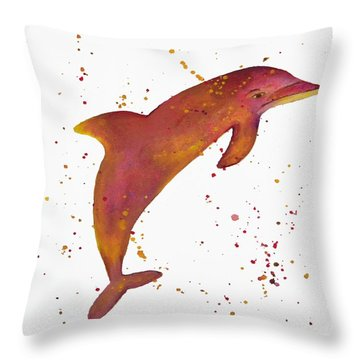 Colorful Dolphin Abstract Art By Saribelle Throw Pillow by Saribelle Rodriguez