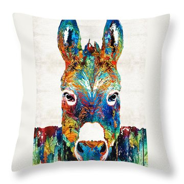 Colorful Donkey Art - Mr. Personality - By Sharon Cummings Throw Pillow
