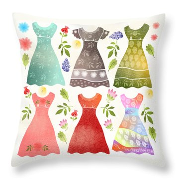 Colorful Dresses Throw Pillow by Elaine Jackson
