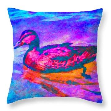 Throw Pillow featuring the digital art Colorful Duck Art By Priya Ghose by Priya Ghose