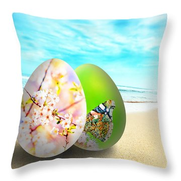 Colorful Easter Eggs On Sunny Beach Throw Pillow by Michal Bednarek