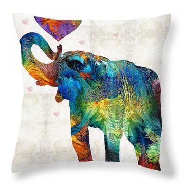 Colorful Elephant Art - Elovephant - By Sharon Cummings Throw Pillow