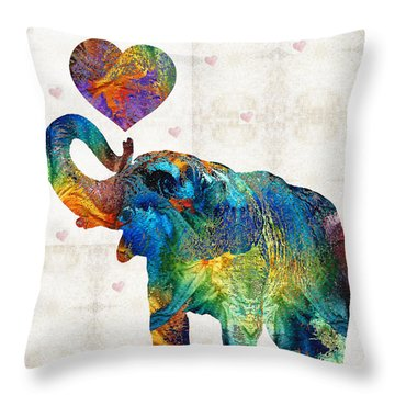 Colorful Elephant Art - Elovephant - By Sharon Cummings Throw Pillow by Sharon Cummings