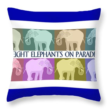 Pastel Elephants On Parade Throw Pillow