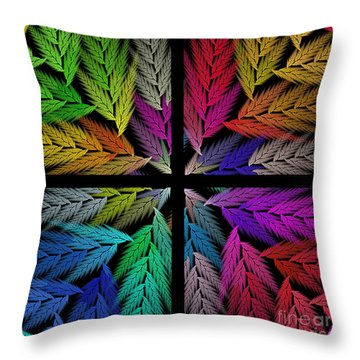 Colorful Feather Fern - 4 X 4 - Abstract - Fractal Art - Square Throw Pillow by Andee Design