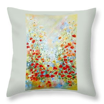 Colorful Field Of Poppies Throw Pillow