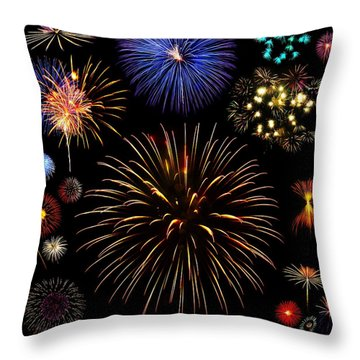 Colorful Are Fireworks Throw Pillow by Stanley Mathis