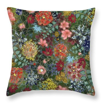 colorful flower painting - For July Throw Pillow