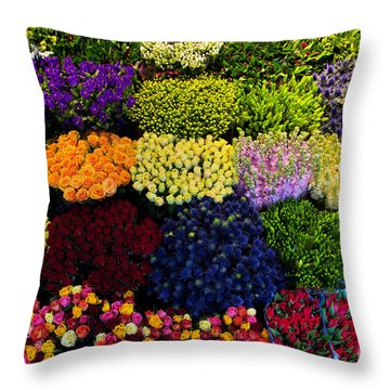 Colorful Flowers Background Throw Pillow by Michal Bednarek