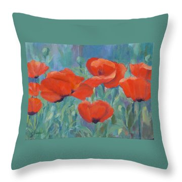 Colorful Flowers Red Poppies Beautiful Floral Art Throw Pillow
