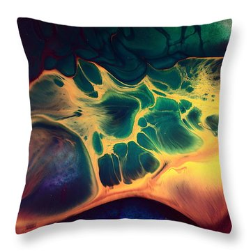 Colorful Fluid Art-wave Of Fire By Kredart Throw Pillow