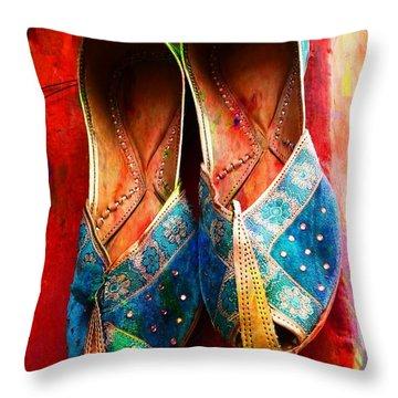 Colorful Footwear Juttis Sales Jaipur Rajasthan India Throw Pillow