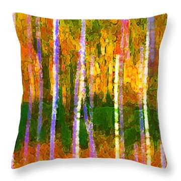 Colorful Forest Abstract Throw Pillow by Menega Sabidussi