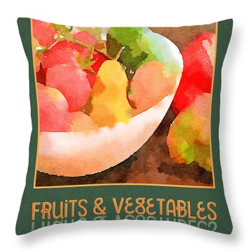 Colorful Fruits And Vegetables Digital Watercolor  Throw Pillow