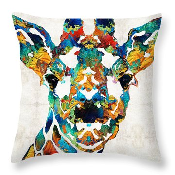 Colorful Giraffe Art - Curious - By Sharon Cummings Throw Pillow by Sharon Cummings