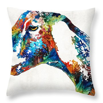 Colorful Goat Art By Sharon Cummings Throw Pillow