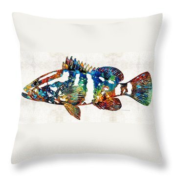 Colorful Grouper 2 Art Fish By Sharon Cummings Throw Pillow