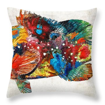 Colorful Grouper Art Fish By Sharon Cummings Throw Pillow