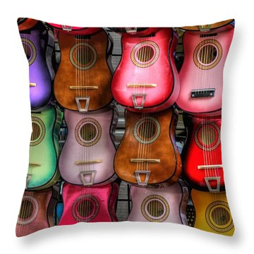 Colorful Guitars Throw Pillow by Tony  Colvin