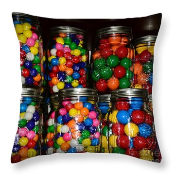 Colorful Gumballs Throw Pillow by Paul Ward