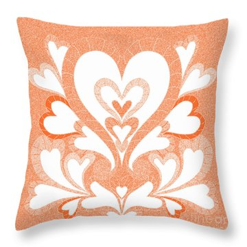 Orange Hearts Throw Pillow