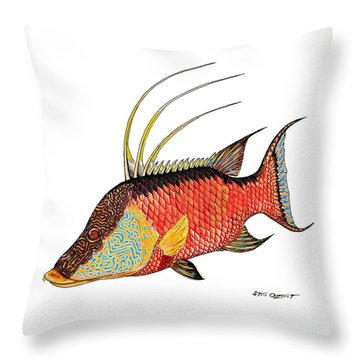 Throw Pillow featuring the painting Colorful Hogfish by Steve Ozment