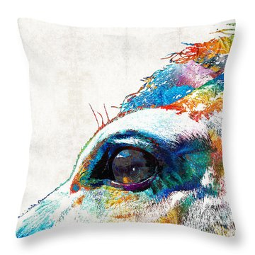 Colorful Horse Art - A Gentle Sol - Sharon Cummings Throw Pillow