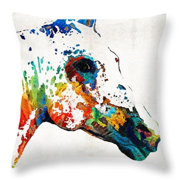 Colorful Horse Art - Wild Paint - By Sharon Cummings Throw Pillow