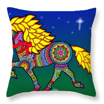 Colorful Horse Tangle Design Throw Pillow