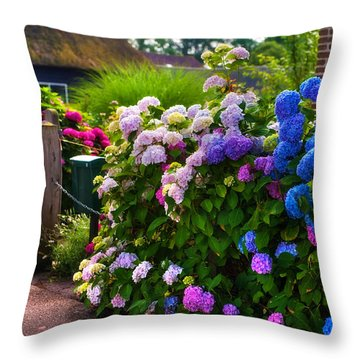 Colorful Hydrangea At The Gate. Giethoorn. Netherlands Throw Pillow