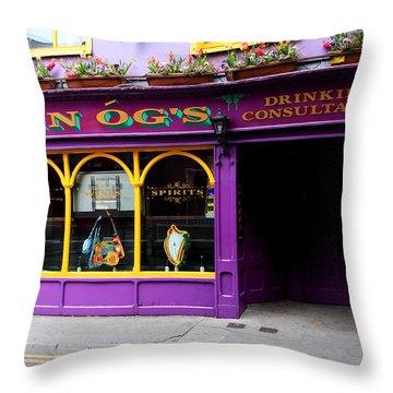 Colorful Irish Pub Throw Pillow by Aidan Moran