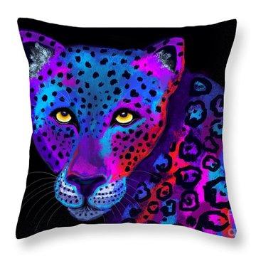 Colorful Jaguar Throw Pillow
