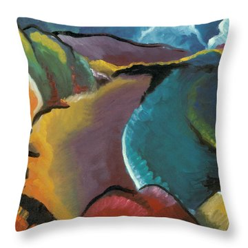 colorful abstract oil painting - Rocky Beach Throw Pillow