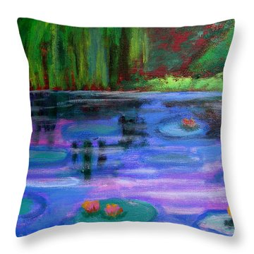 Throw Pillow featuring the painting Colorful Lilly  Pad Flowers After Monet by Diana Riukas