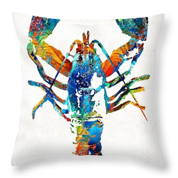 Colorful Lobster Art By Sharon Cummings Throw Pillow