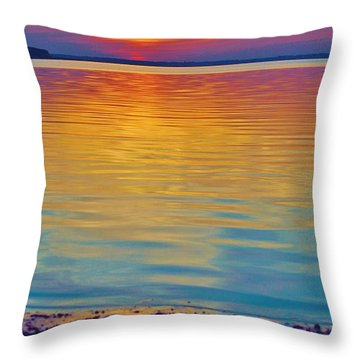 Colorful Lowtide Sunset Throw Pillow