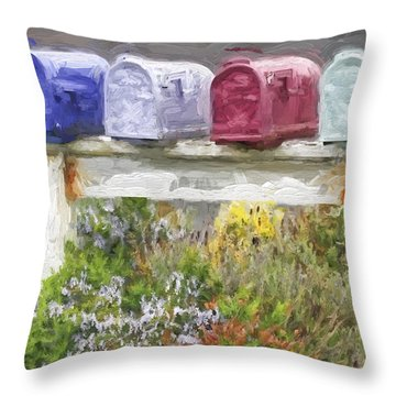 Colorful Mailboxes And Flowers Painterly Effect Throw Pillow