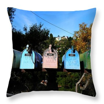 Colorful Mailboxes Throw Pillow by Nina Prommer