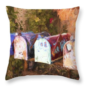 Colorful Mailboxes Santa Fe Painterly Effect Throw Pillow
