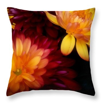 Colorful Mums Throw Pillow