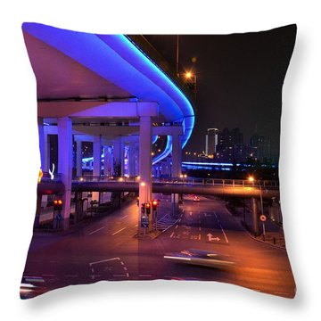 Colorful Night Traffic Scene In Shanghai China Throw Pillow