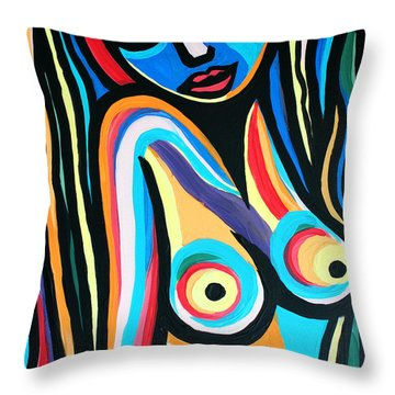 Colorful Nude Lady Throw Pillow