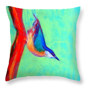 Colorful Nuthatch Bird Throw Pillow