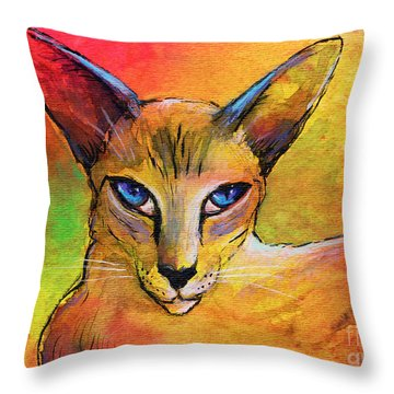 Colorful Oriental Shorthair Cat Painting Throw Pillow by Svetlana Novikova