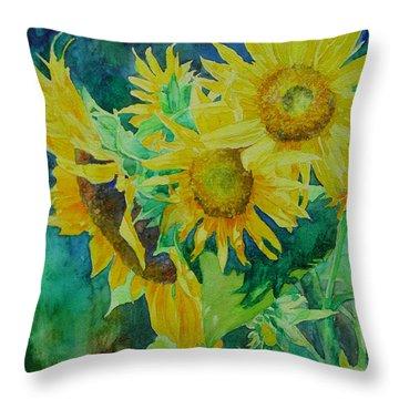 Colorful Original Sunflowers Flower Garden Art Artist K. Joann Russell Throw Pillow
