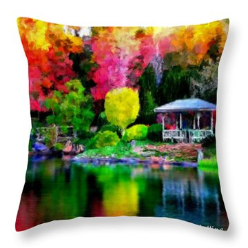 Throw Pillow featuring the painting Colorful Park At The Lake by Bruce Nutting