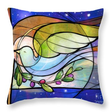 Colorful Peace Dove Throw Pillow