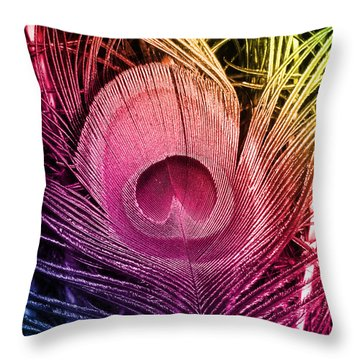 Colorful Peacock Feather Throw Pillow by Eva Csilla Horvath