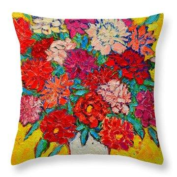 Colorful Peonies Throw Pillow by Ana Maria Edulescu